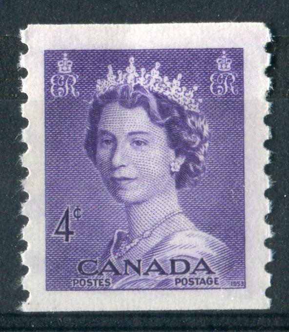 Canada #333 (SG#457) 4c Violet 1953 Karsh Issue Coil Vertical Wove Paper Ribbed Paper VF-80 NH Brixton Chrome