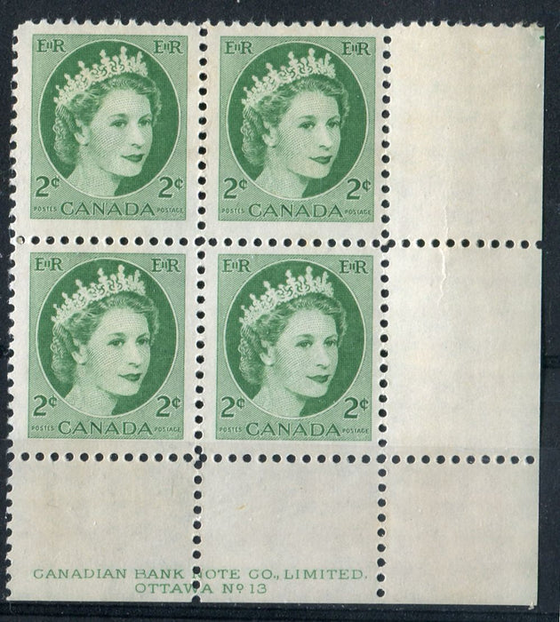 Canada #338iv (SG#464) 2c Green 1954 Wilding Issue Plate 13 LR Dot DF Gr. Smooth Paper F-70 NH Brixton Chrome
