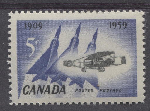 Canada #383 (SG#509) 5c Blue And Black Silver Dart And Jet Planes 1959 50th Anniversary of First Flight VF 75/80 NH Brixton Chrome