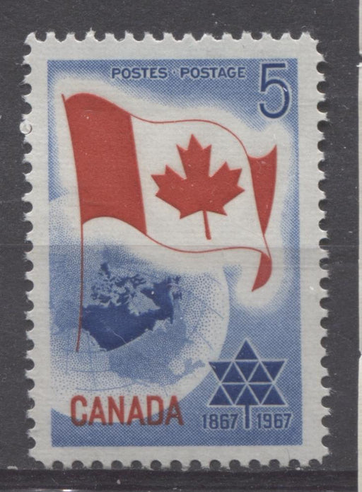 Canada #453 (SG#578) 5c Blue And Red 1967 Centennial of Confederation Issue NF Paper VF 75/80 NH Brixton Chrome