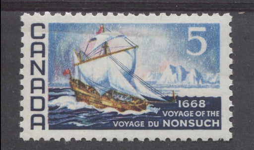 Canada #482 (SG#624) 5c Dark Blue And Multicoloured 1968 Voyage of Nonsuch Issue LF Paper VF 75/80 NH Brixton Chrome