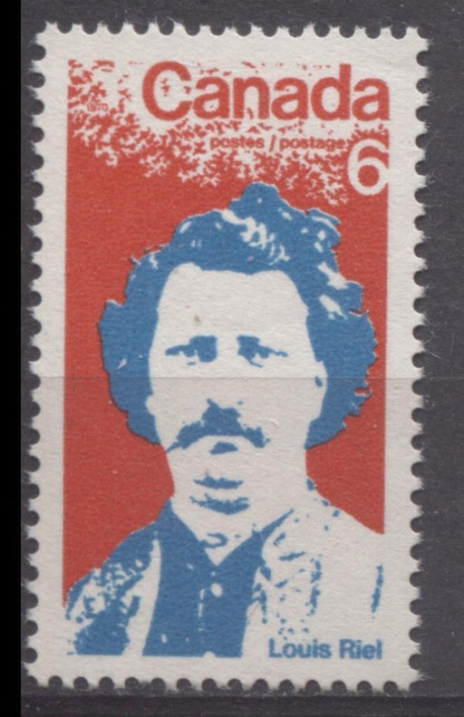 Canada #515 (SG#657) 6c Red And Bright Blue 1970 Louis Riel Issue DF Paper VF 84 NH Brixton Chrome