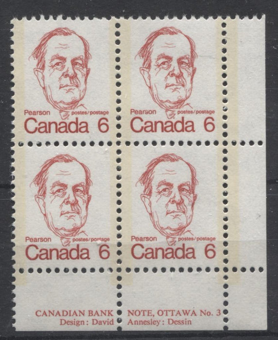 Canada #591 (SG#698) 6c Deep Rose Red Pearson 1972-1978 Caricature Issue NF Paper Type 1 Plate 3 LR VF-80 NH Brixton Chrome