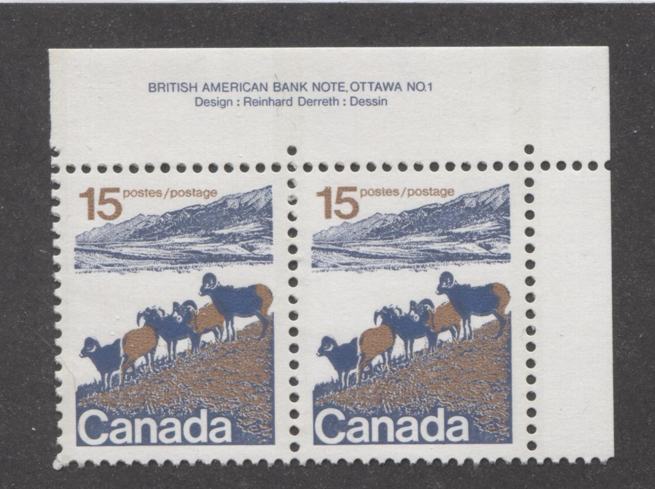 Canada #595ii (SG#703) 15c Mountain Sheep 1972-1978 Caricature Issue Type 1, 3 mm OP-2 Tagging, Paper Type 6 Plate 1 Pr VF-84 NH Brixton Chrome