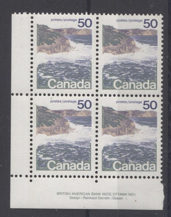 Canada #598ii (SG#706) 50c Seashore 1972-1978 Caricature Issue Type 1, 3 mm GT-2 OP-2, Ribbed Paper Type 2 Plate 1 LL VF-80 NH Brixton Chrome