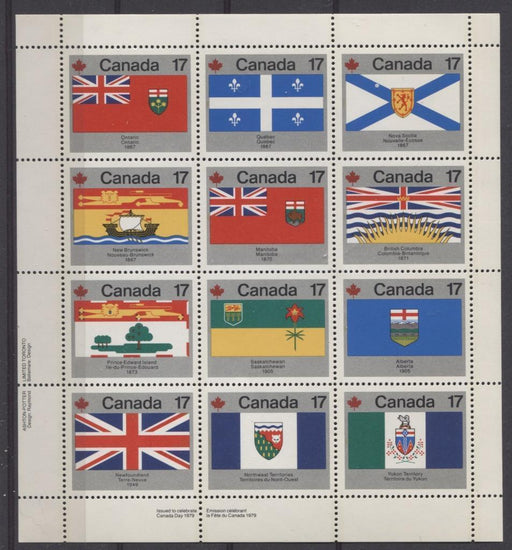 Canada #832a (SG#944ab) $2.04 1979 Canada Day Issue LL Miniature Pane of 12 LF-fl Paper VF-75 NH Brixton Chrome