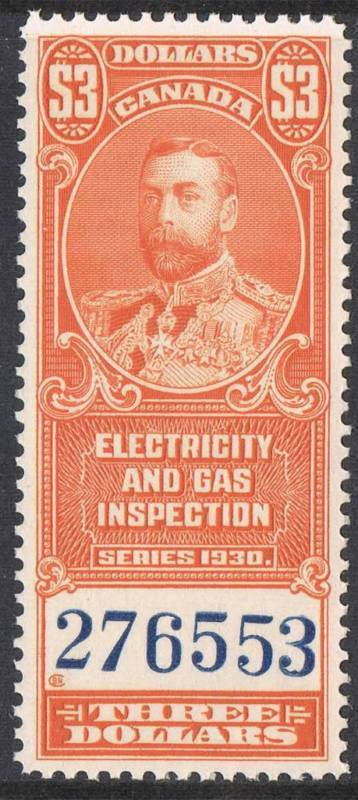 Canada #FEG6 1930 $3 Deep Orange Electicity and Gas Inspection Sup-98 NH Brixton Chrome