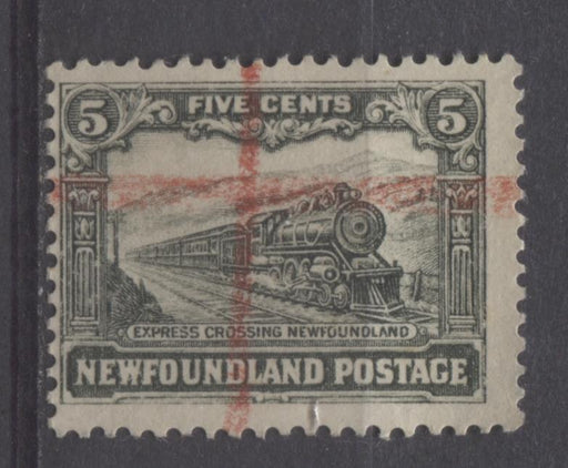 Newfoundland #167 (SG#183) 5c Slate Green 1929 Publicity Re-Engraved Comb Perf.13.6x13.8 VG-55 Used Brixton Chrome