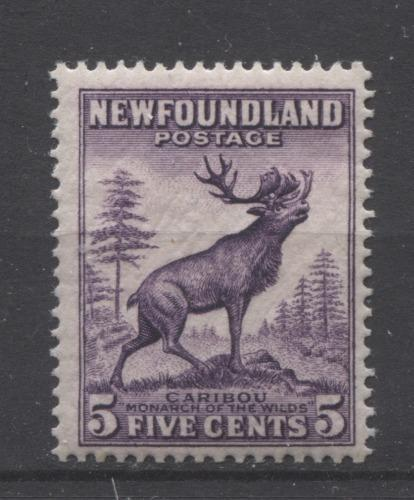 Newfoundland #191 (SG#225c) 5c Deep Reddish Lilac Caribou Die 2 1932-37 Resources Issue F-70 OG Brixton Chrome