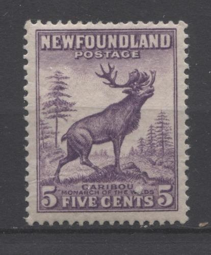 Newfoundland #191 (SG#225c) 5c Deep Reddish Violet Caribou Die 2 1932-37 Resources Issue F-65 NH Brixton Chrome