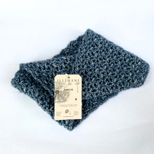 Illimani's Amelie Yarn in Denim Blue, crocheted Classic Snood by Erika Knight