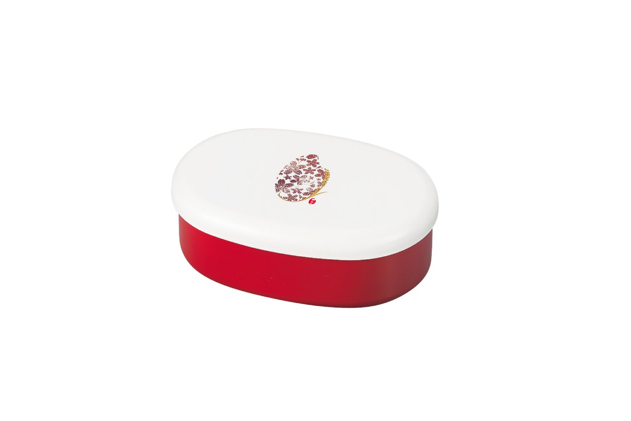 Komemon Lacquer Oval Bento | Red