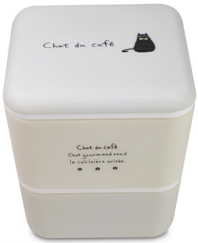 Chat du Cafe Square Wood Bento Box | White by Showa - Bento&con the Bento Boxes specialist from Kyoto