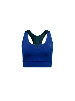 performance stretch satin racer back sports bra in blue with elasticated hem band and mesh back.