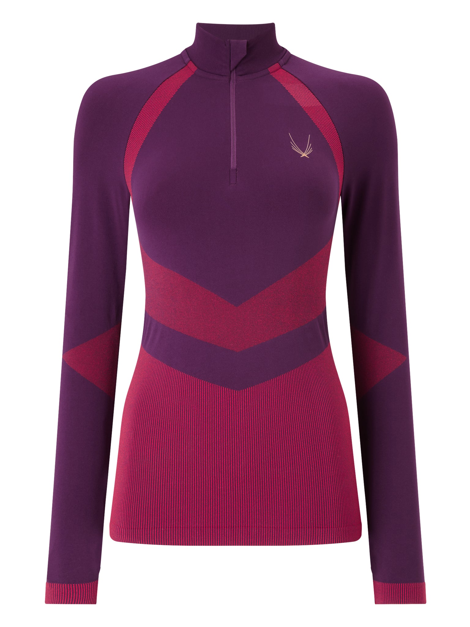 Lucas hugh technical knit 1/3 zip top aubergine for running