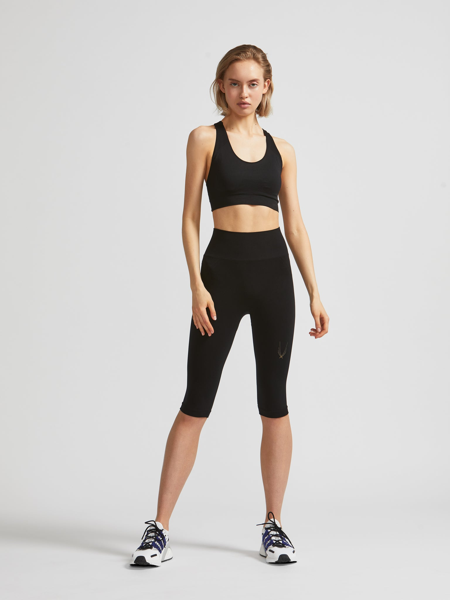 high waisted seamless black capri leggings with breathable panels. Ideal for yoga, Pilates, barre
