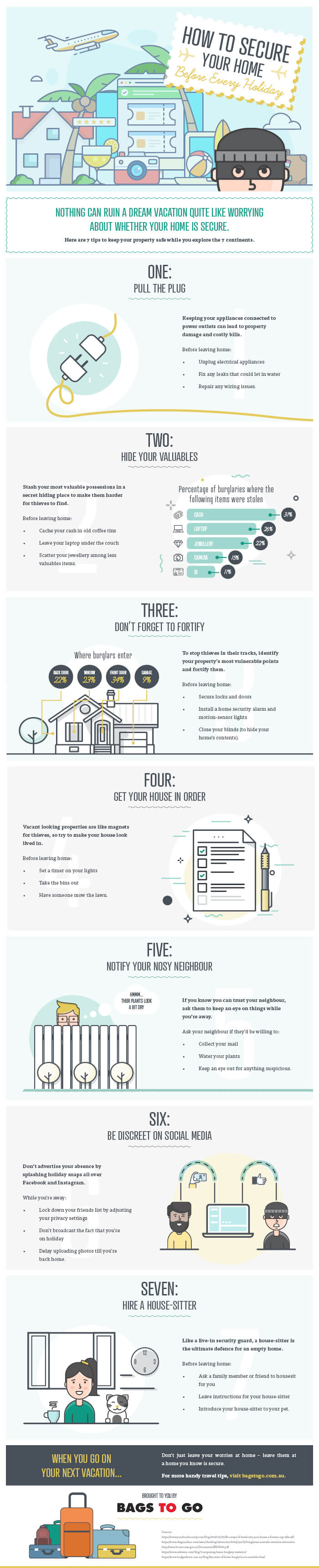 tips on keeping house safe when away infographic