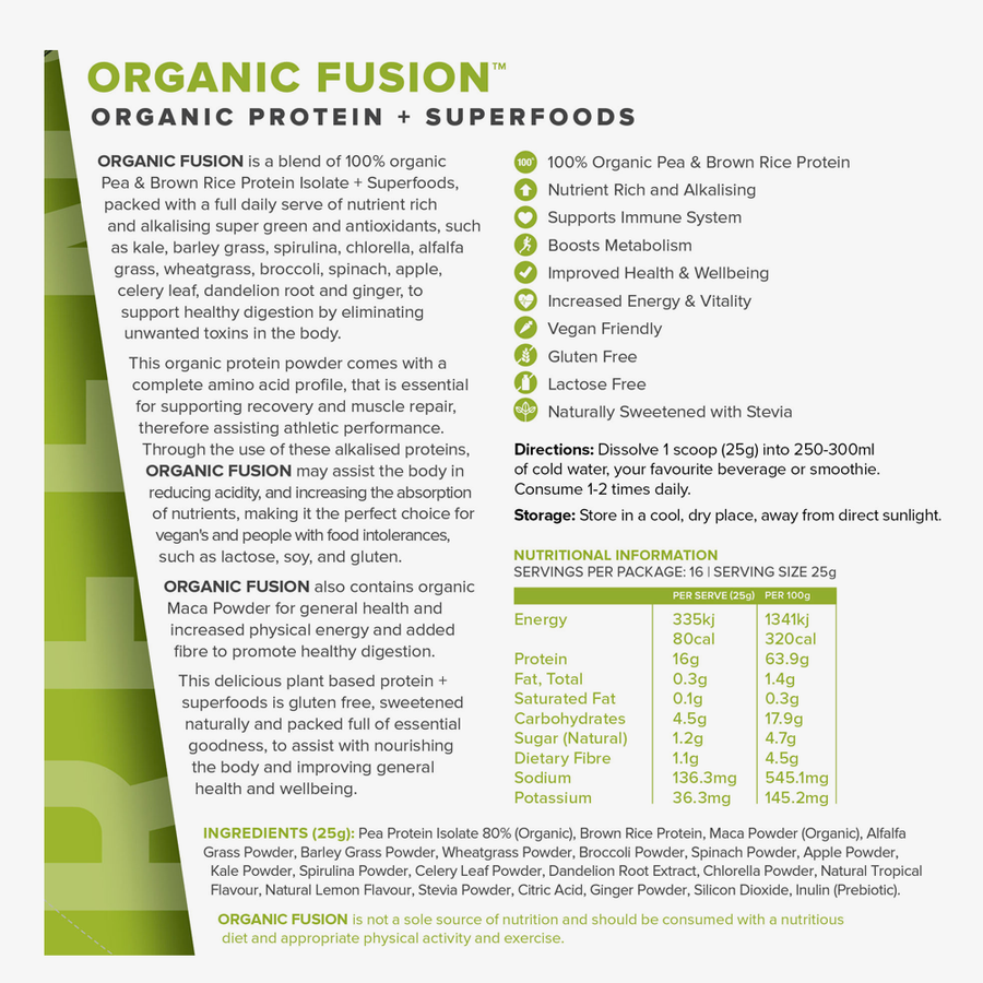 Organic Fusion Tropical Greens organic protein powder nutritional panel