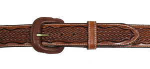 "Russet Basket Weave Scallop 1.5"""" Western Leather Belt by Vogt Silversmiths"