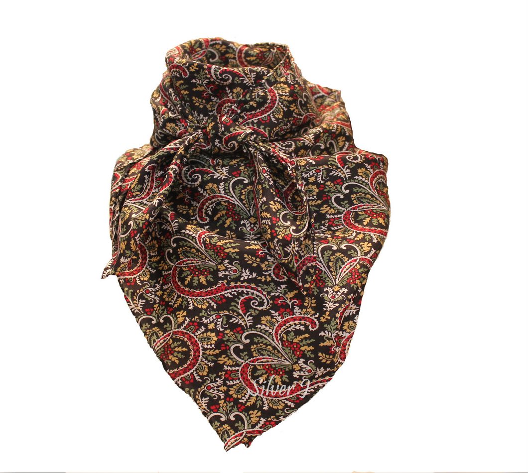 Wild Rag Paisley Silk Red and Black