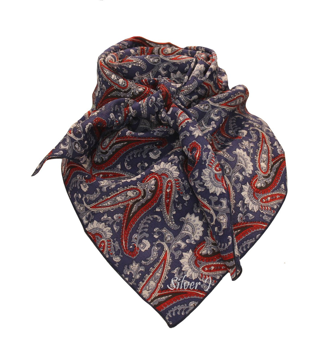 Wild Rag Paisley Silk Red White and Blue