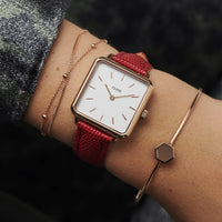 CLUSE 16 mm Strap Deep Red Lizard/Rose Gold CLS383 - Cinturino indossato