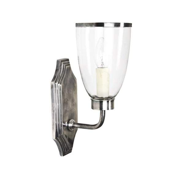 Westbrook Wall Light with Silver/Glass Shade