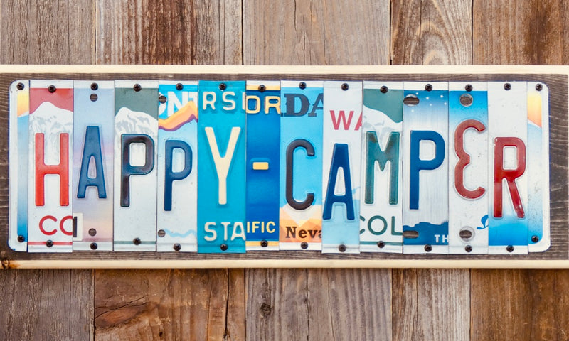 Happy Camper Sign made with repurposed License Plates