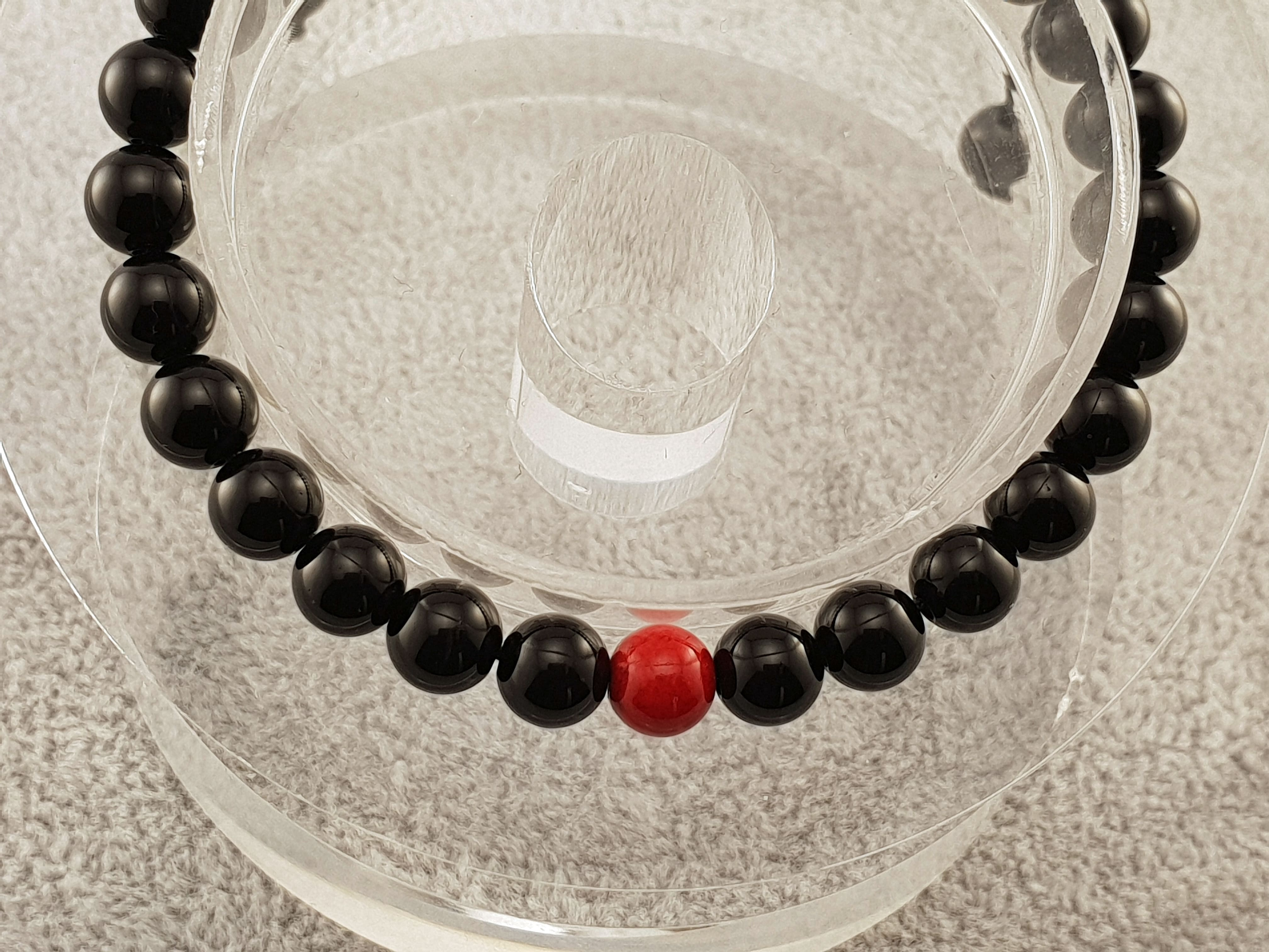 Agate beads - Black and Red 2 - By Janine Jewellery