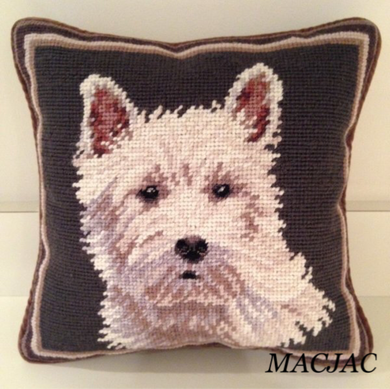 Westie White Dog Needlepoint Pillow 10