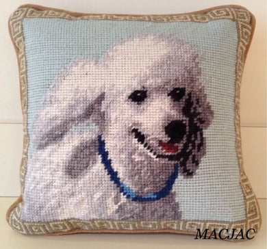 White Poodle Dog Needlepoint Pillow 9