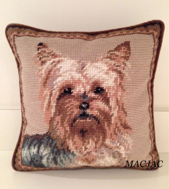 Yorkie Dog Needlepoint Pillow 10
