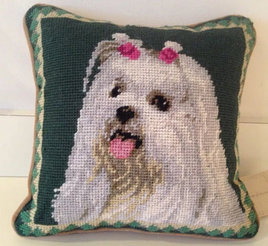 Maltese Dog Needlepoint Pillow 10