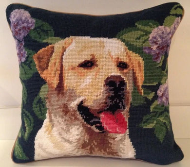 Yellow Lab/Labrador Retriever Dog Needlepoint Pillow 14
