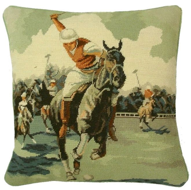 Needlepoint/Petit Point Polo Player On Horse Pillow 14