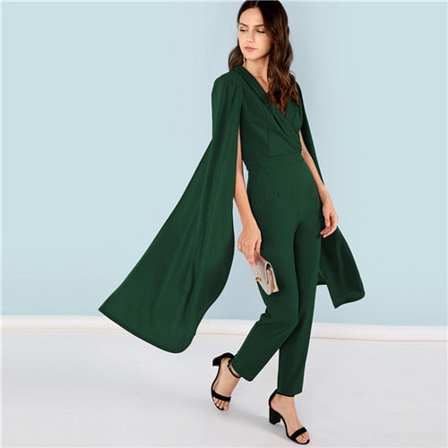 Christina Hunter Green Cape Jumpsuit