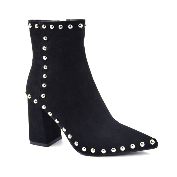 Madison Hot Pointed Studded Ankle Heel Boots