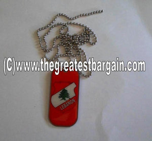 Copy of Lebanon ID/Dog Tag double sided with chain Necklace-Red