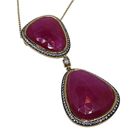 18KT Y/G Ruby Slice and Diamond Necklace