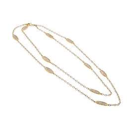 18kt Two Tone Diamond Station Necklace