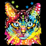 Neon Blue Eyes Cat Tshirt with Small Print - TshirtNow.net - 2