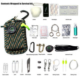 550 Paracord Carabiner 29 in 1 SOS Emergency field survival kit for Camping Hiking