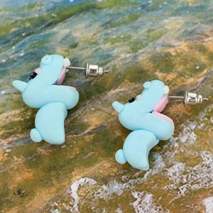 1 Pair 3D Clay Earrings Fashion Kawaii Soft Pottery Hippo Earrings Fashion Simple Handmade Polymer Animal Stud Earrings for Girls Women