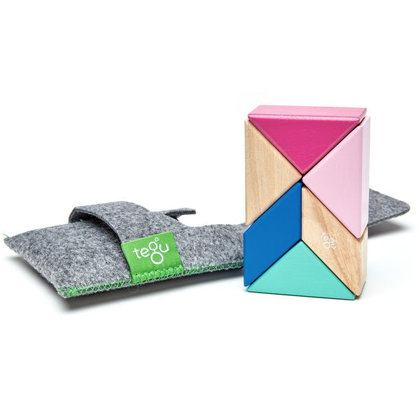 Tegu Magnetic Wooden Blocks Pocket 6 piezas Blossom