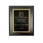 6x8 Black Plaque with Black/Gold Brass Plated Steel Textured Plaque Plate