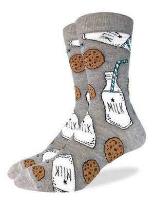 Gray funny socks with milk and cookies