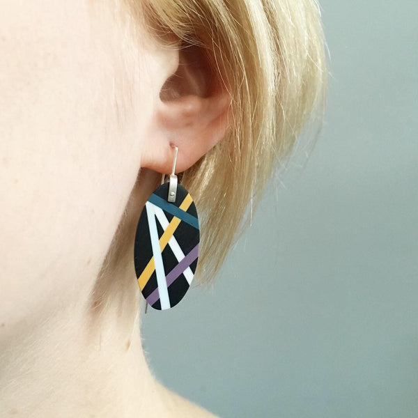 Laura Jaklitsch Jewelry Wood x Polyurethane Purple Teal Gold Ebony Earrings one of a kind statement earrings