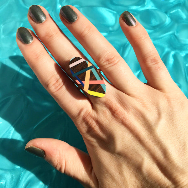 Laura Jaklitsch Jewelry Wood x Polyurethane Tropical Cocktail Ring