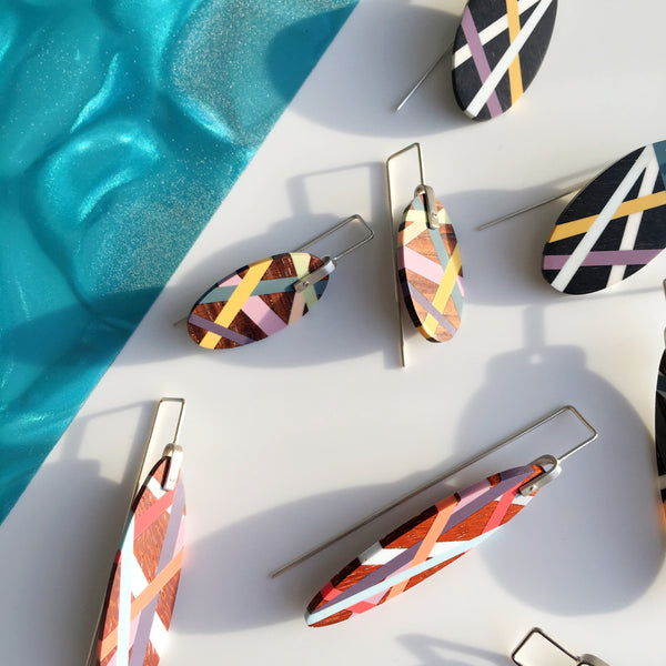 Laura Jaklitsch Jewelry Wood and Polyurethane Resin Inlay Earrings