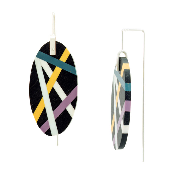 Laura Jaklitsch Jewelry Wood x Polyurethane Purple Teal Gold Ebony Earrings Side View